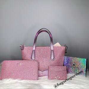 Kate Spade Glitter Purse and wallet 3 piece set